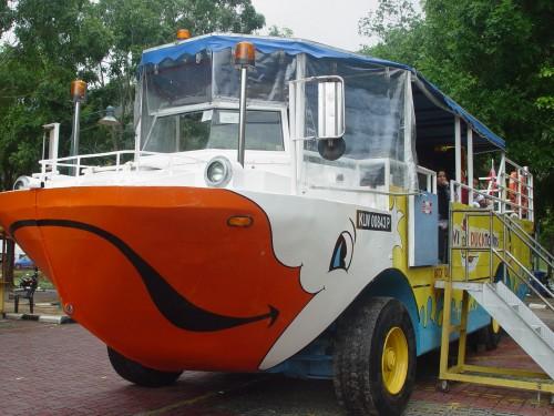 The Duck Tour's amphibious ride.